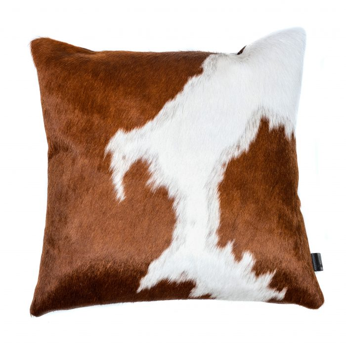 Zulucow Nguni cowhide cushion brown and white scatter cushions home accessories soft furnishings interiors home, sustainable, ethical, handmade, animal print cushion, fur cushions, pillows, faux fur cushion