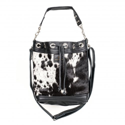 Zulucow bucket leather bags, black and white, fashion accessories, women's accessories, sustainable, ethical