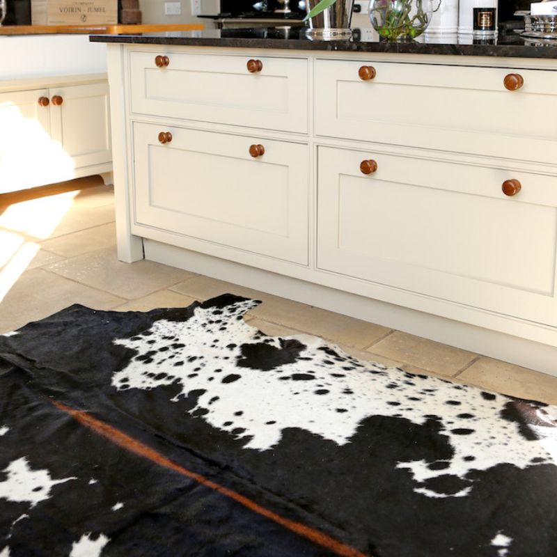 Tricolour cowhide sustainable rug, ethically sourced, natural